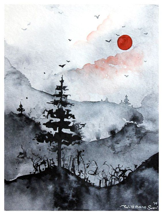 Red Black Sun And Monochrome Landscape With Trees Mountains