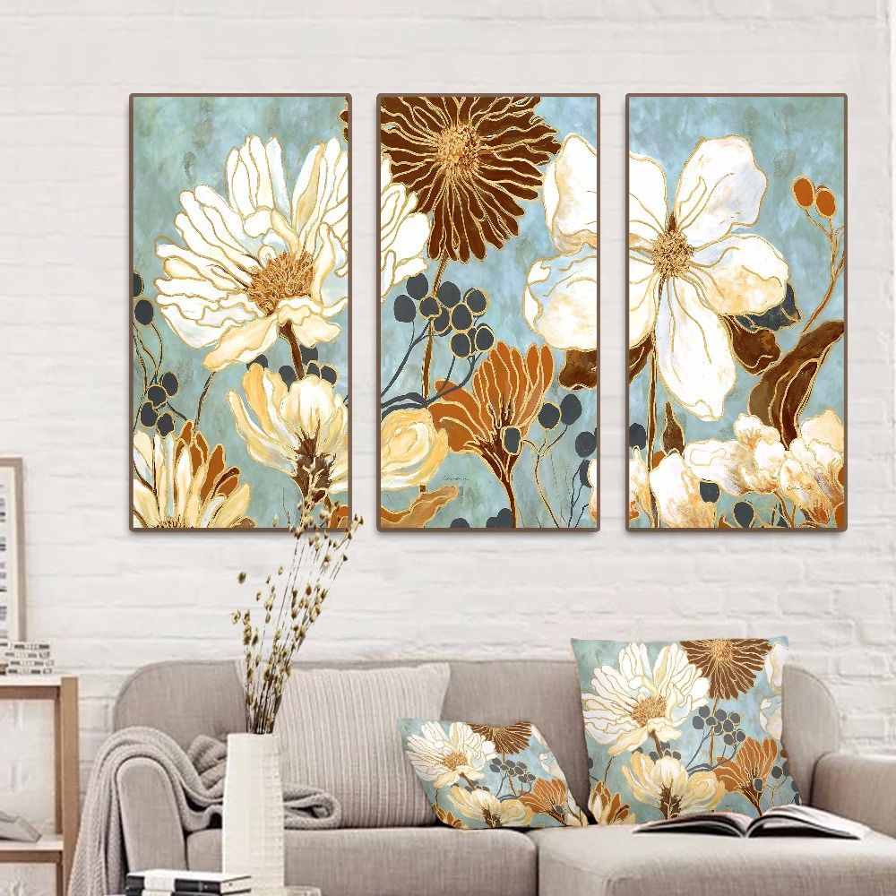 Blooming Flowers 3 Pieces Canvas Pictures Set Myshophome Abstract Floral Art 3 Piece Canvas Art Abstract Canvas Painting