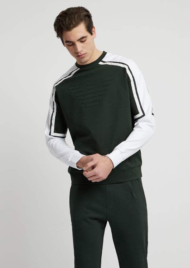 342f5541a8 Emporio Armani Sweatshirt In Stretch Viscose Interlock With Embossed ...