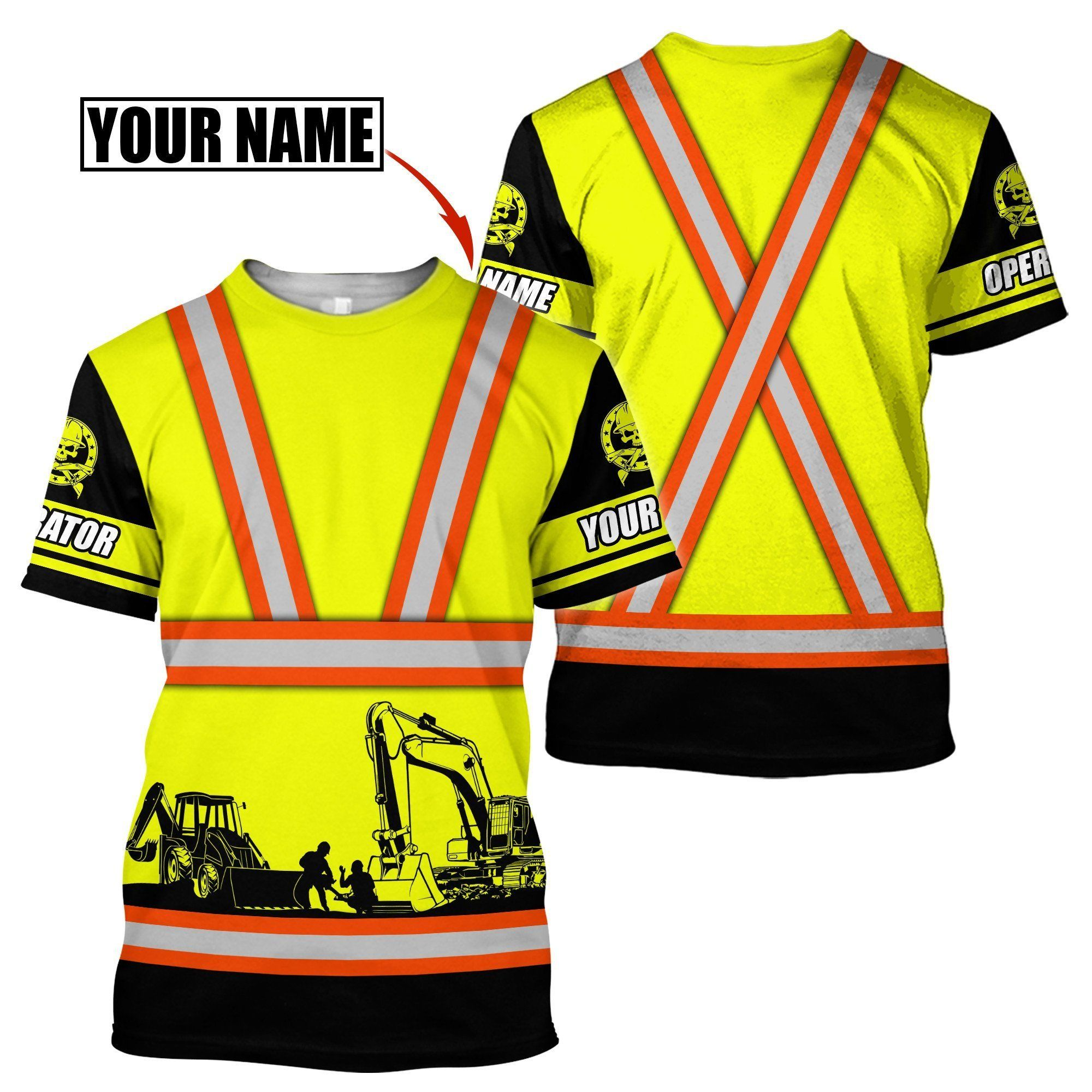 Customize Name Heavy Equipment Operator 3D All Over Printed Unisex Shirt - T-Shirt / 3XL