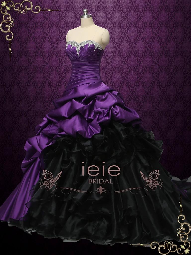 Gothic Purple And Black Strapless Wedding Dress Constance Plus Wedding Dresses Fancy Gowns Big Wedding Dresses [ 1024 x 768 Pixel ]