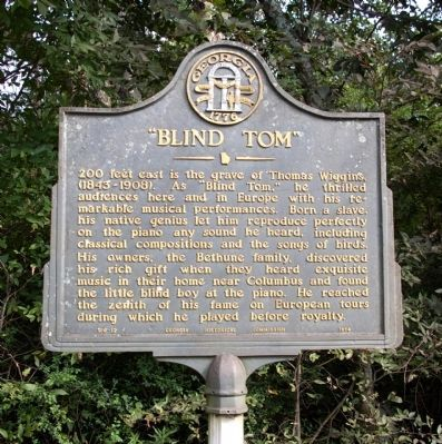 """""""Blind Tom"""" Thomas Wiggins, (1843-1908).  Born a slave.  He thrilled audiences here and in Europe with his remarkable musical performances.  Midland, Georgia"""