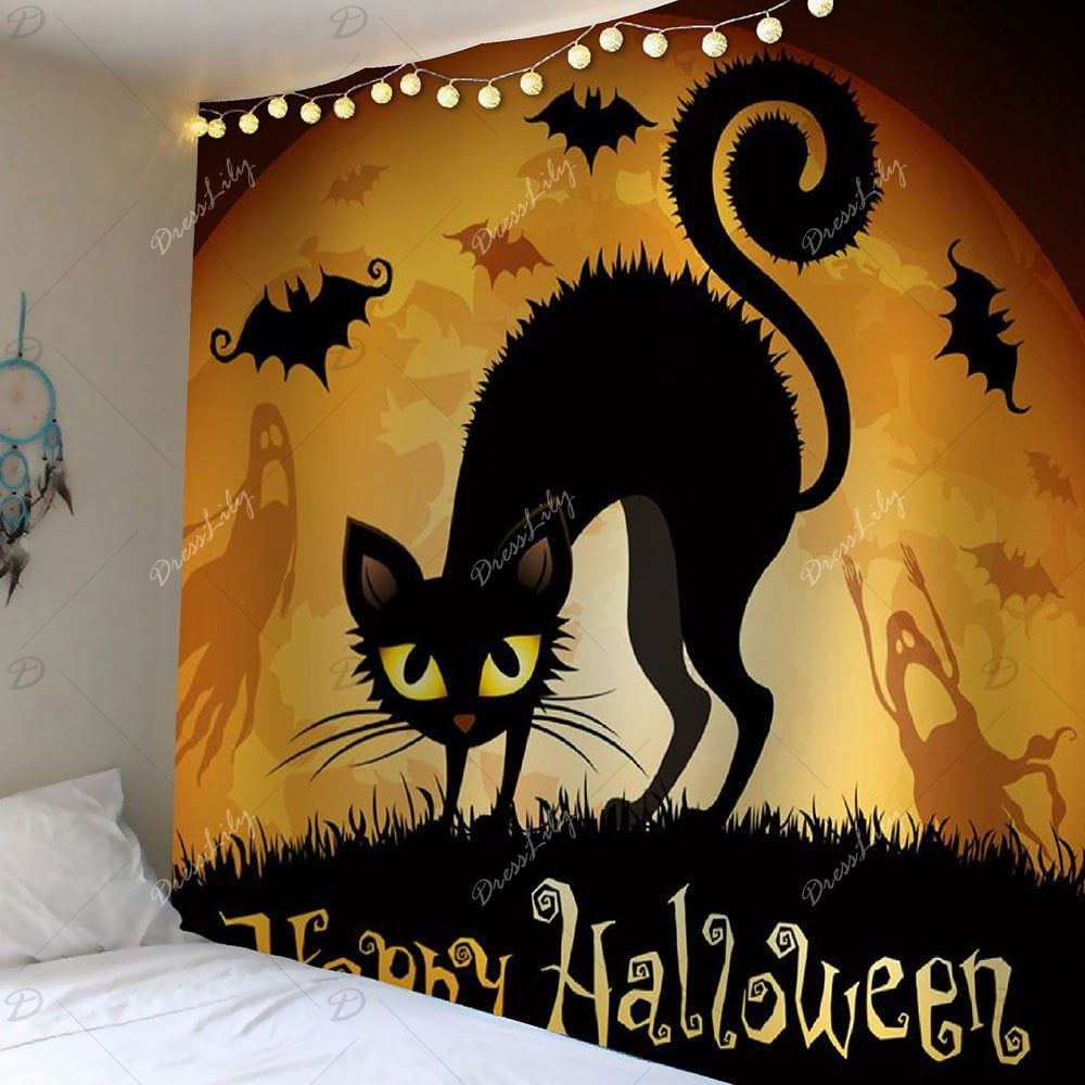 Waterproof Halloween Cat Bat Print Wall Tapestry