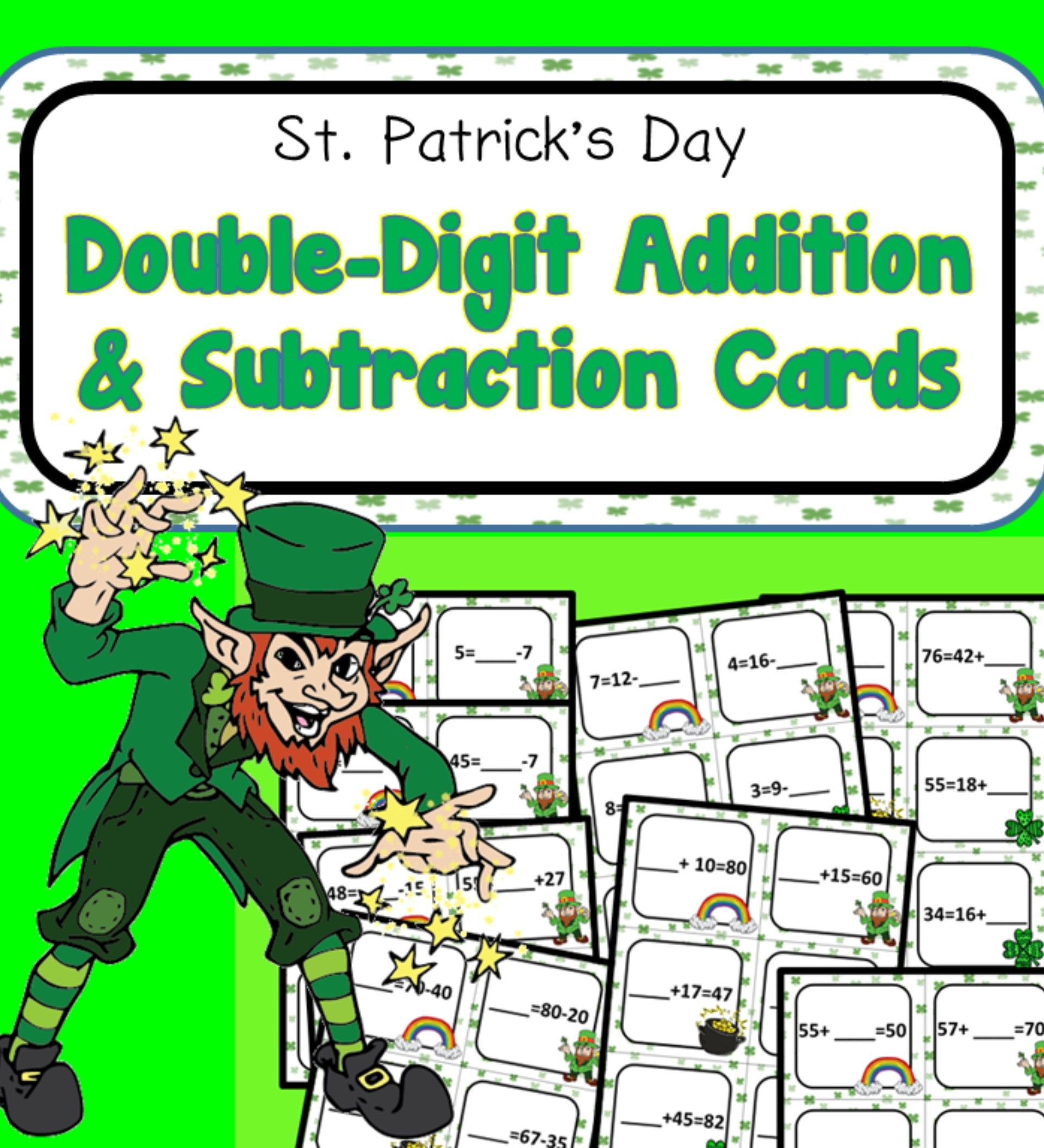 St Patrick S Day Double Digit Addition Subtraction Cards