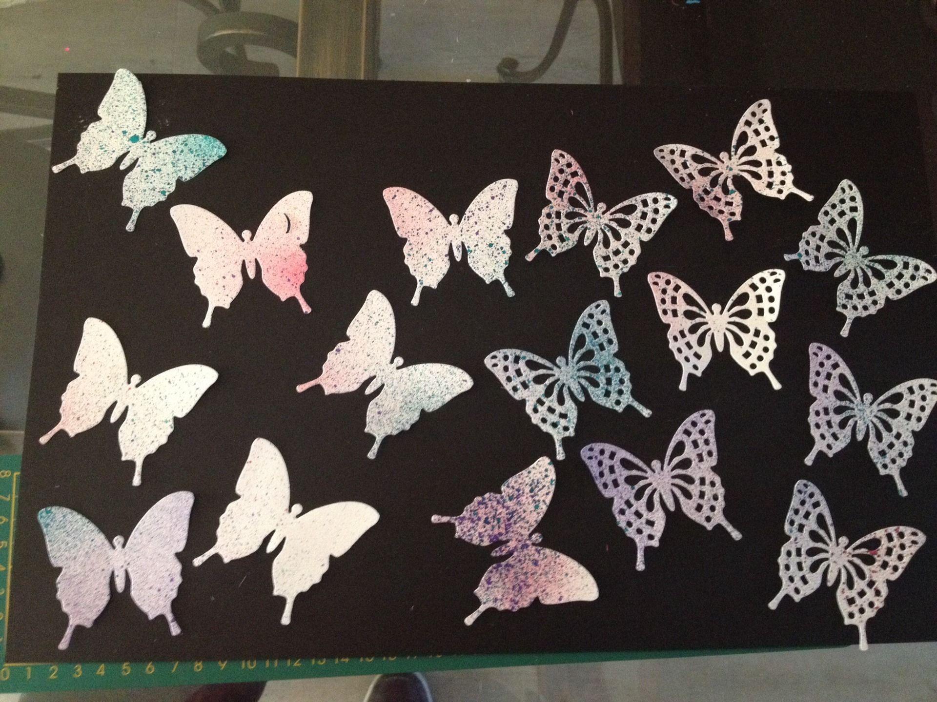 16 decoupes scrapbooking deco papillon 3d peint l encre. Black Bedroom Furniture Sets. Home Design Ideas