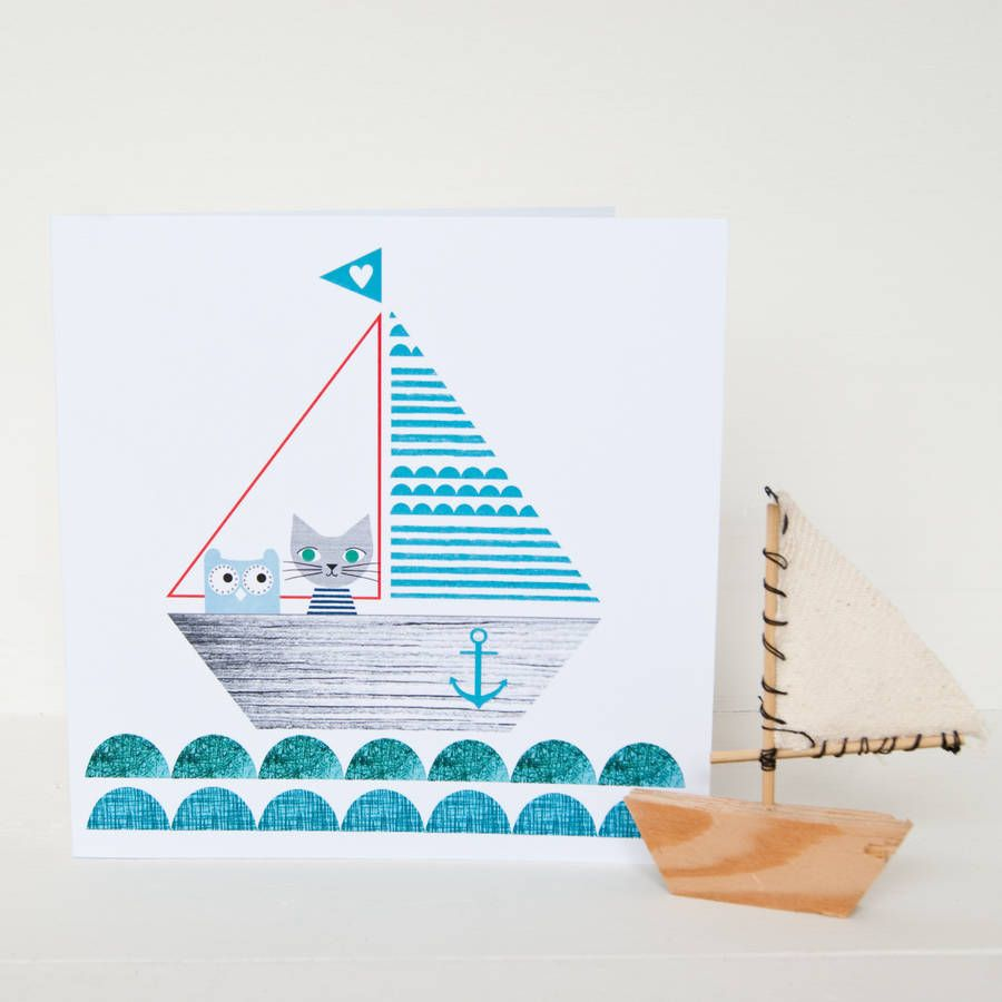 owl and cat birthday card carta pinterest sailboats cats and
