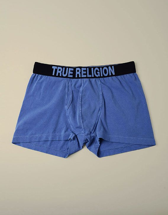 261cd8e52 Show off your skivvies in a stylish way with a True Religion boxer brief in  bold blue. A branded waistband lends itself to a classic look for style.