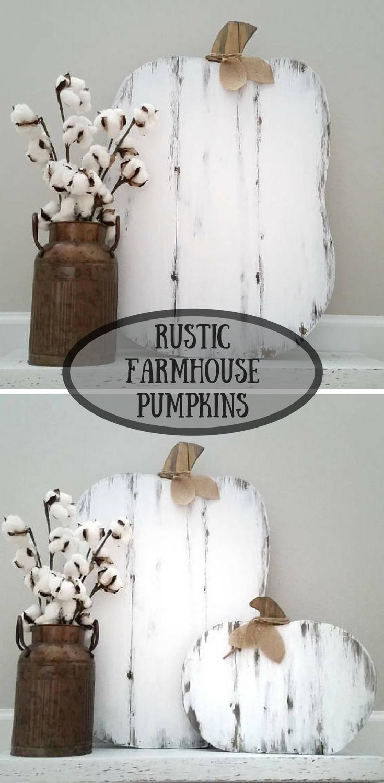 Rustic Farmhouse Pumpkins #farmhouse #rustic #ad #white #fall #autumn #harvest #thanksgiving #halloween #wood #home