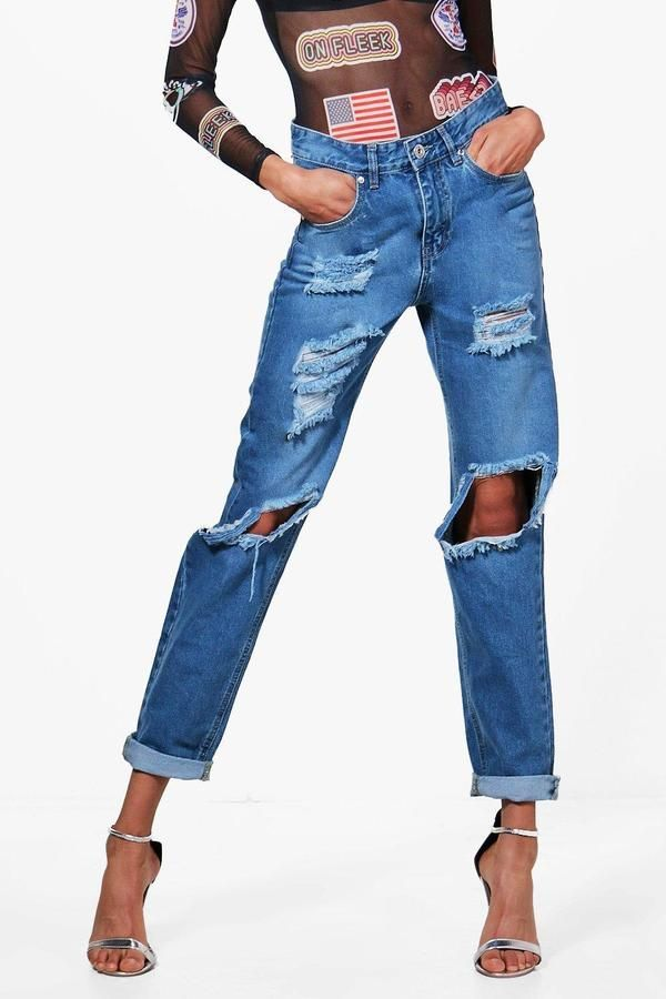 ea4cb6be3e09 boohoo Sophie High Waist Distressed Mom Jeans | Products
