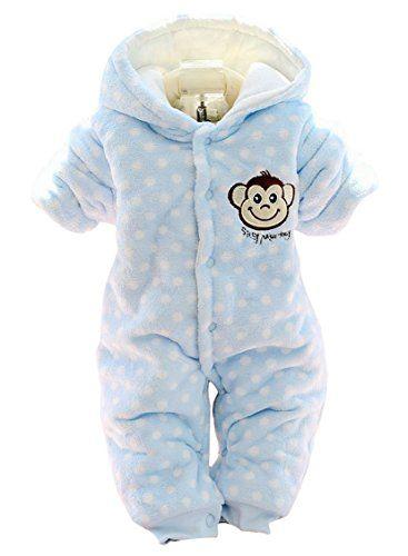 Newborn Baby Girl Boy Winter Thick Warm Cartoon Animal Hoodies Bodysuits Clothes