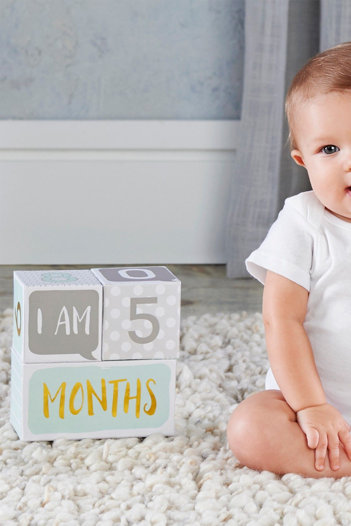 Baby Aspen My First Milestone Baby Age Blocks Kids Fashion Girl Baby Age Blocks Kids Fashion