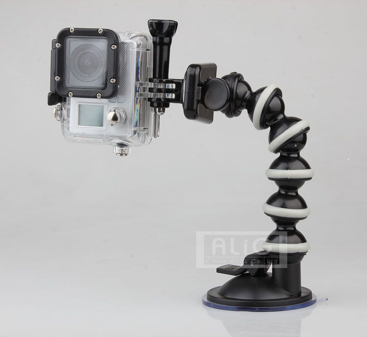Flexible Gooseneck Car Sucker Mount Holder Gopro Hero 4 3 HD SupTig SJ4000 SJ5000 SJ6000 Mini Camcorder Camera Accessories