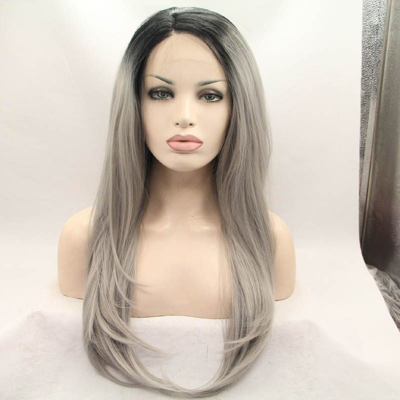 Sensational Hot Sales Dark Roots Ombre Grey Straight Synthetic Lace Front Wig Hairstyles For Women Draintrainus