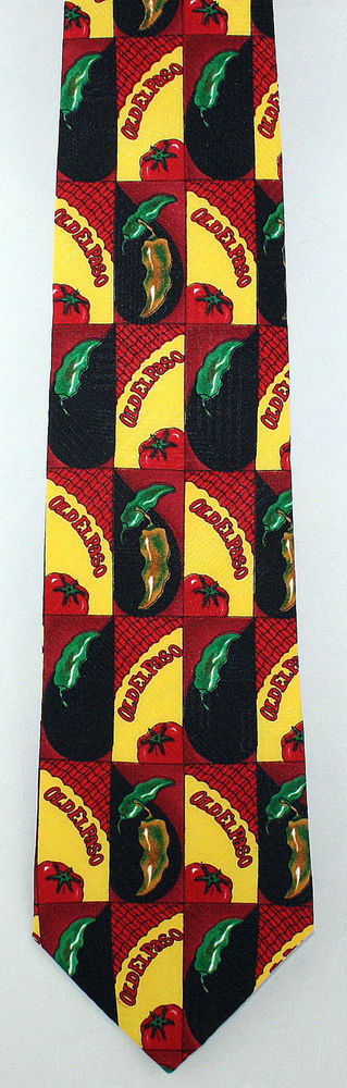 New Old El Paso Mens Necktie Pepper Tomato Mexican Food Brand Novelty Neck Tie #OldElPaso #NeckTie