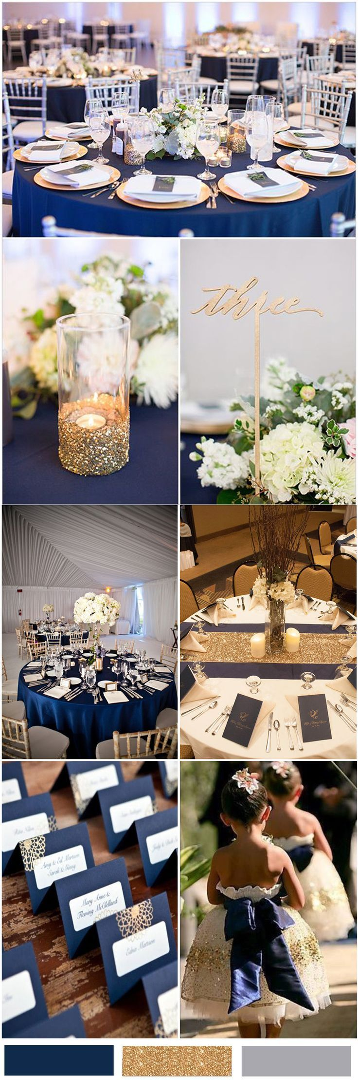 Blue and gold wedding decor  Nobleness and Eternity Stunning Navy Blue Wedding Color Ideas in