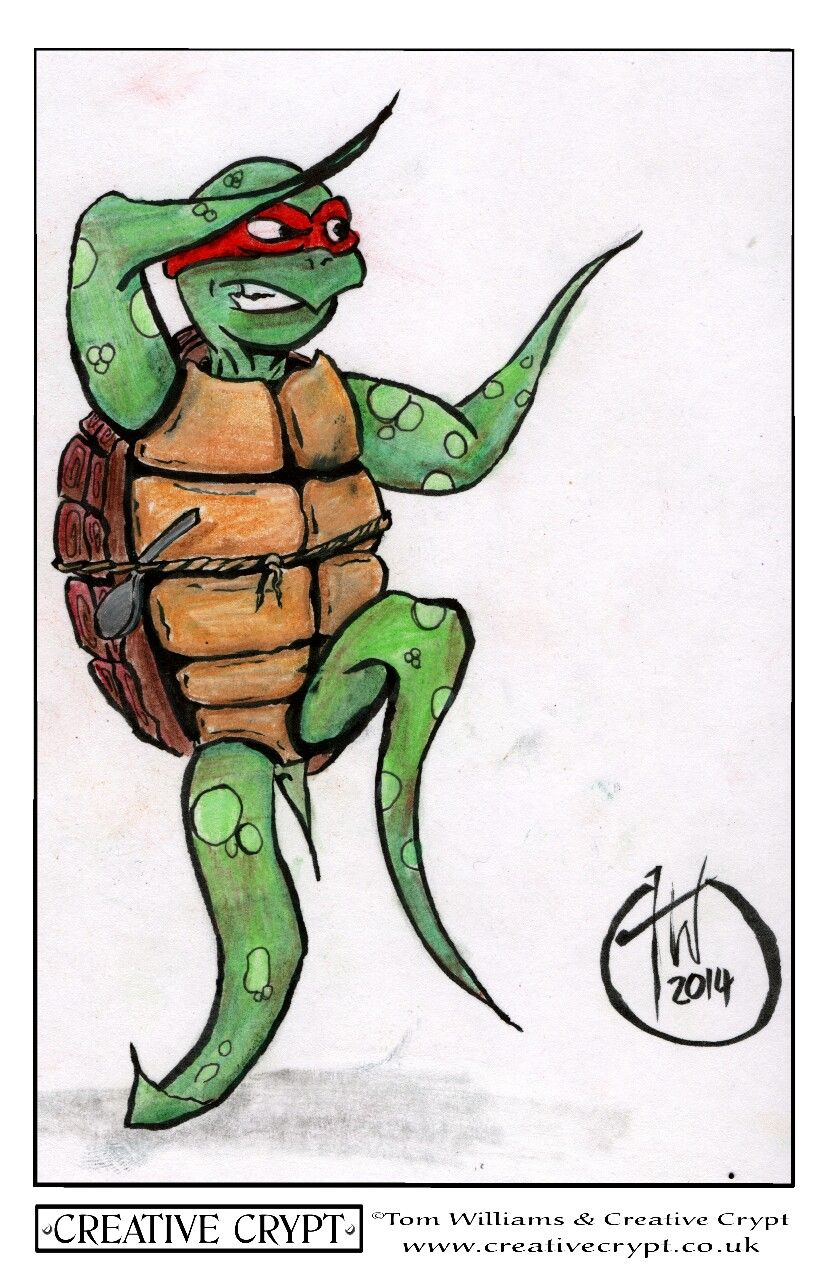 This time I was trying out a Kuretake No. 13 brush pen witg water colour pencils #tmnt #creativecrypt #illustrations #teenagemutantninjaturtles
