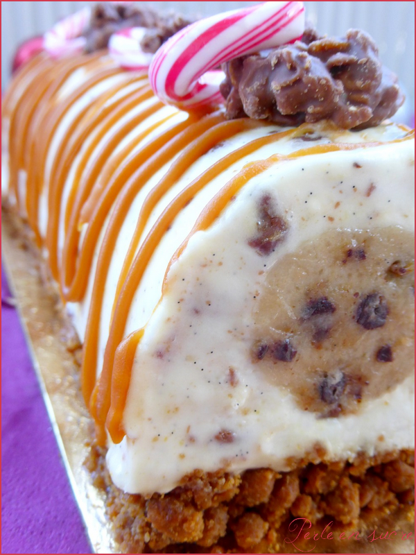 Bûche de Noël facile rapide et sans cuisson (spéculoos, cheesecake aux  daims, cœur