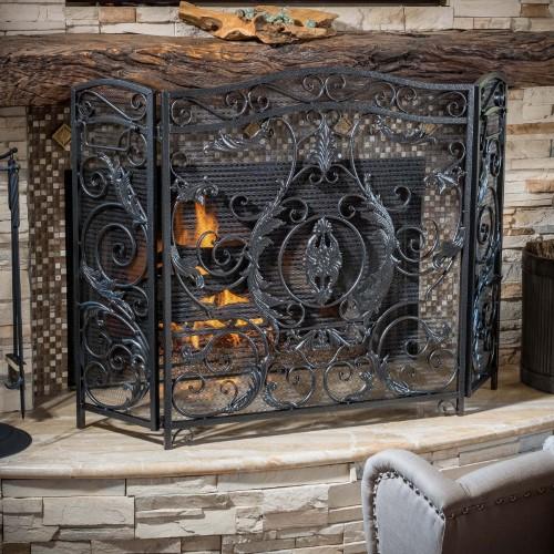Best Selling Home Decor Hayward 3 Panel Iron Fireplace Screen, Black