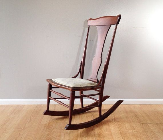 Antique Rocking Chair. Vintage Sewing Rocker. Retro Armless Nursing Chair.  Primitive Furniture.