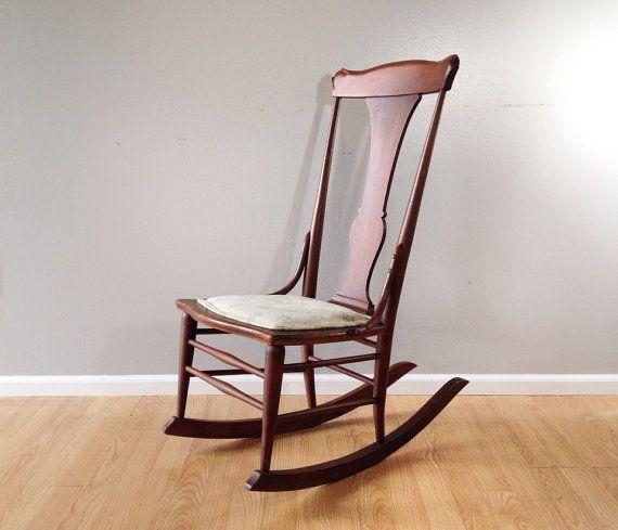 antique rocking chair. vintage sewing rocker. retro armless nursing chair.  primitive furniture. - Antique Rocking Chair. Vintage Sewing Rocker. Retro Armless