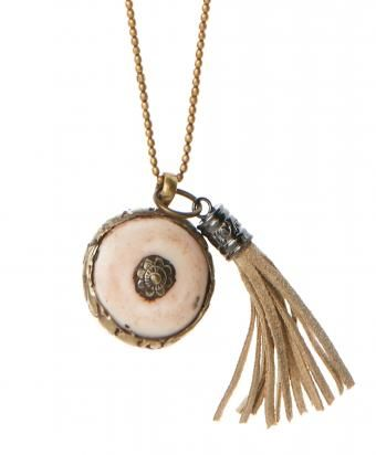 Cream Copal and Tassel Pendant Necklace- LATITUDE