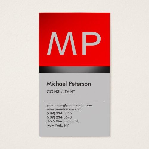 Vertical Trendy Red Grey Monogram Business Card Zazzle Com Red