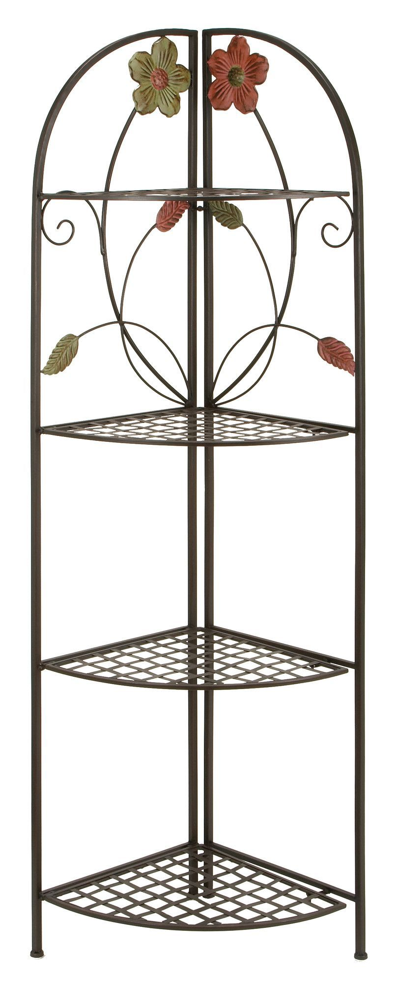 Whether You Load Up The Uma Enterprises 4 Shelf Corner Etagere  Floral  With Statues, Photos, Potted Plants, Or Nothing At All, It's The Perfect  Decorative