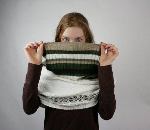 Upcycled Recycled Repurposed Sweater Shawl Shrug Woodland Stripes on Etsy, $28.00