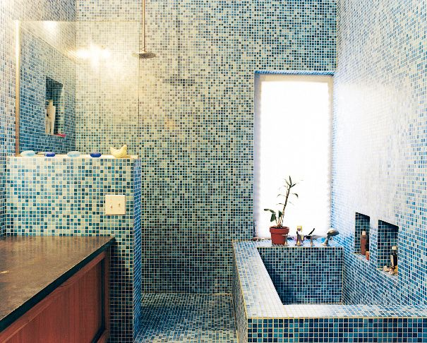 The tile is recycled glass from China.  Photo by: Noah Webb