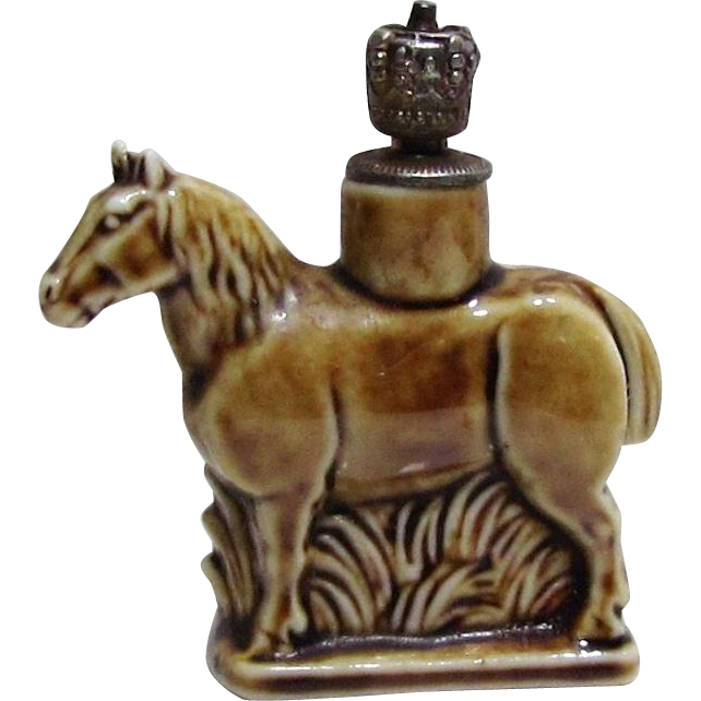 Vintage Schafer & Vater Horse German Crown Top Figural Perfume Bottle from charmalier on Ruby Lane