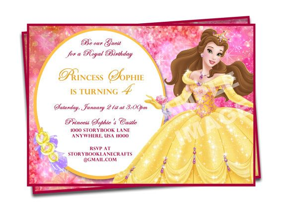 Beauty and the beast invitation belle invitation disney princess beauty and the beast invitation belle invitation disney princess birthday party printable birthday stopboris Images