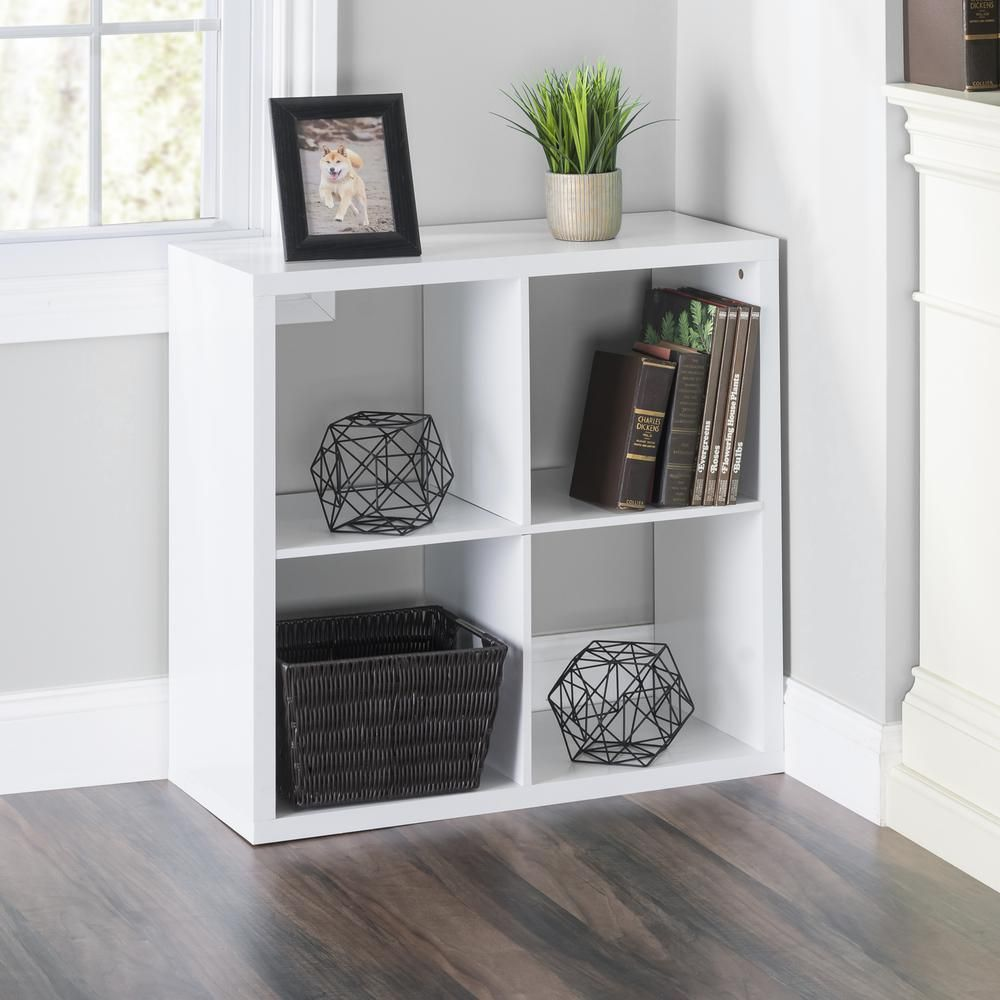 30 In X 13 06 In White 4 Cube Organizer Hdc52065 The Home Depot Wood Storage Shelves Cube Furniture Cube Organizer