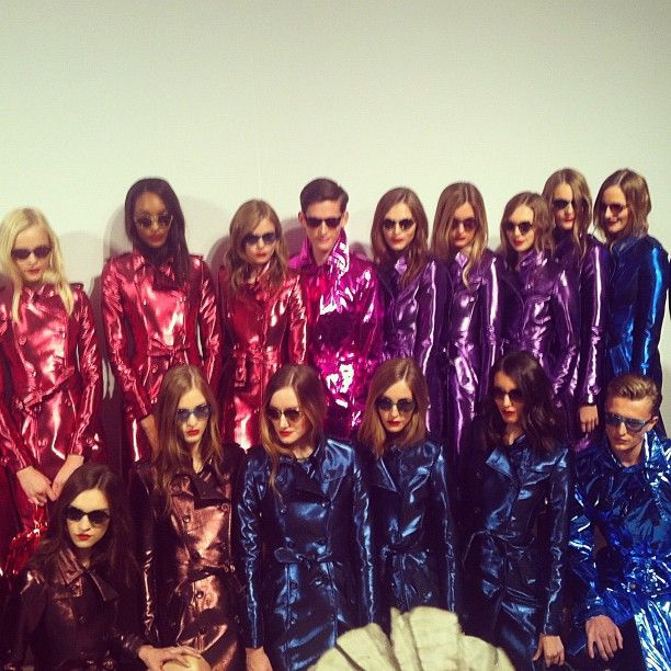 Metallic trench coats backstage at Burberry Prorsum S/S13 show
