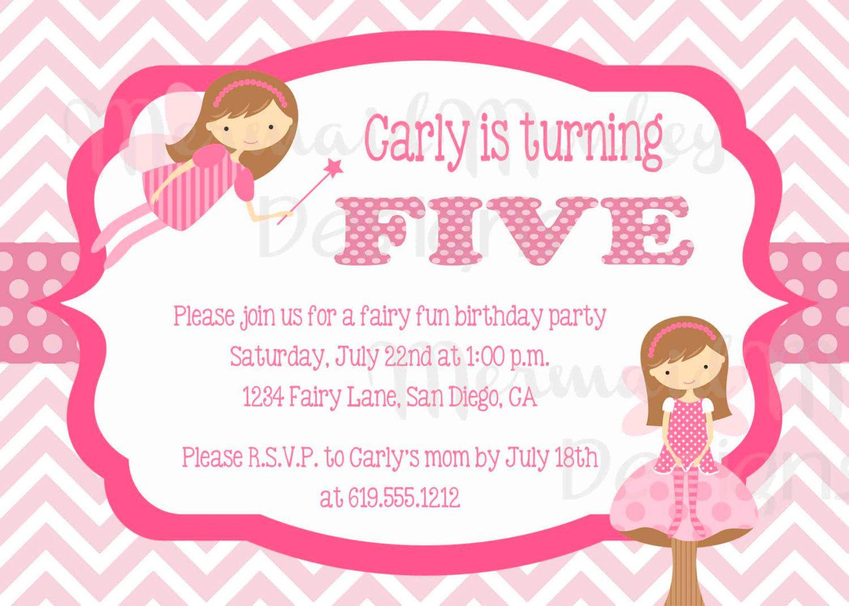 Fairy Birthday Invitation - Girl Birthday Invitation - Pink ...