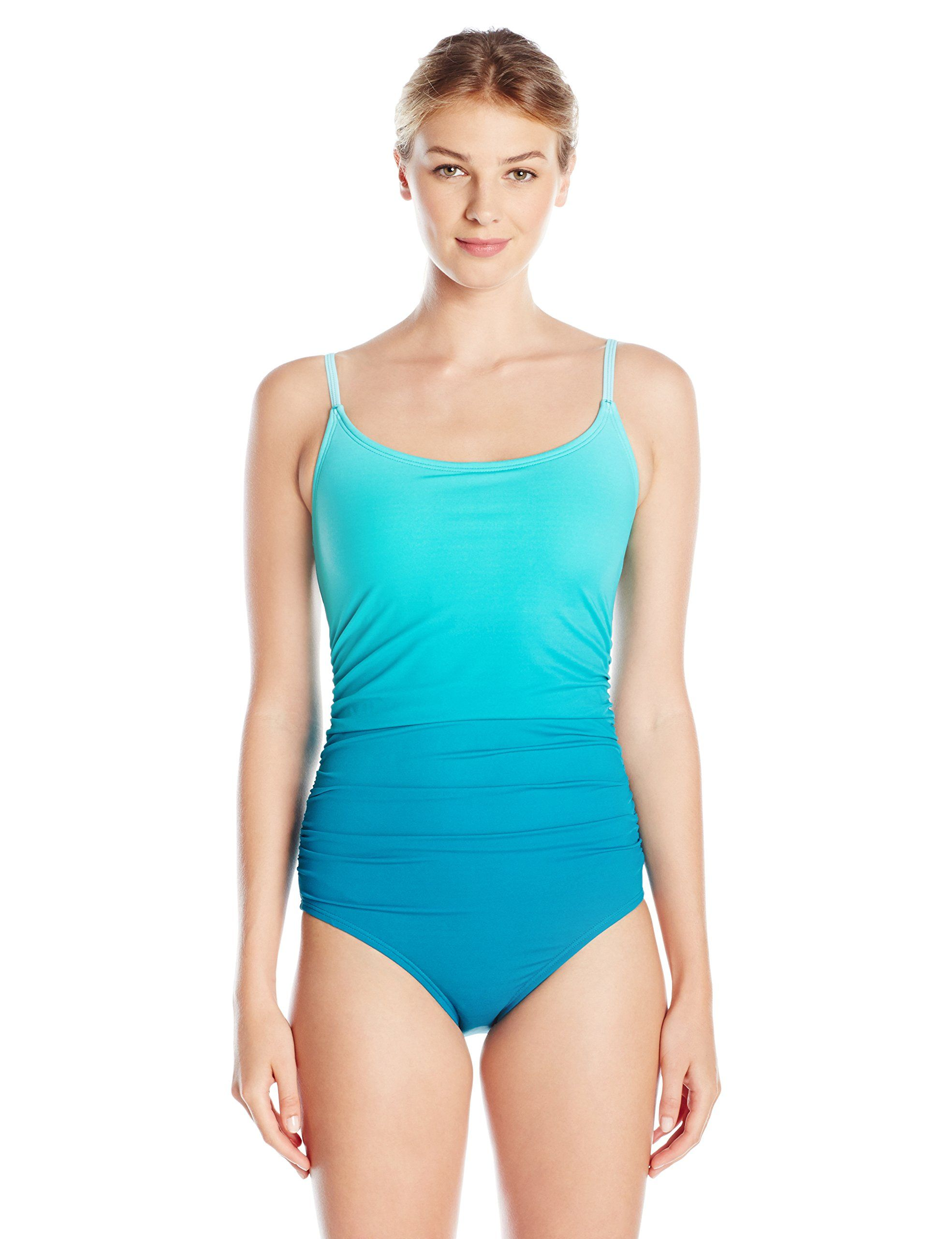 f416ae144a93a Speedo Women's Ombre Shirred One Piece Swimsuit, Mystic Teal, 16. Lycra  extra life