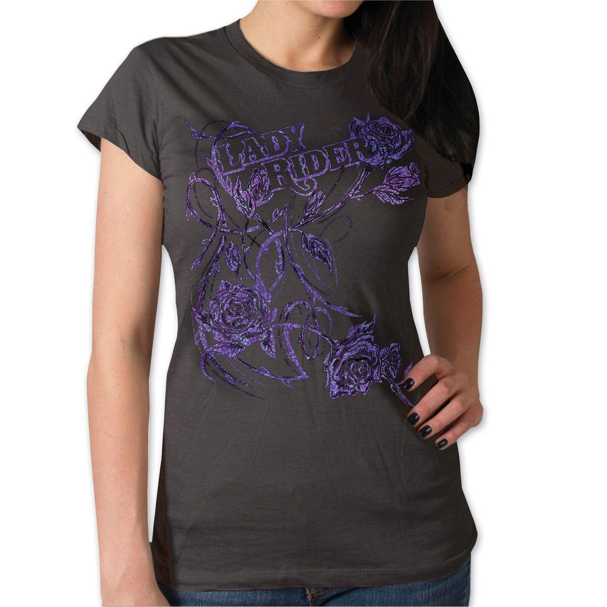 Hot Leathers Glitter Roses Women's Smoke T-Shirt | 177-942 | J&P Cycles