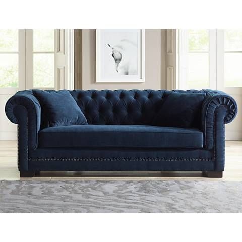 Tessa Shire Blue 90 3 4 Wide Tufted French Sofa 6y001 Lamps Plus
