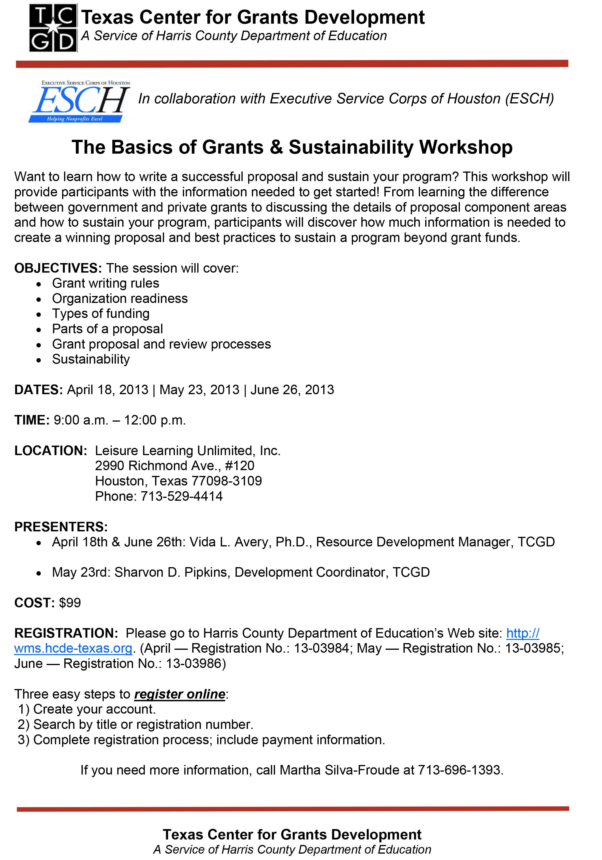 Basics Of Grants And Sustainability Workshop  Get Started With