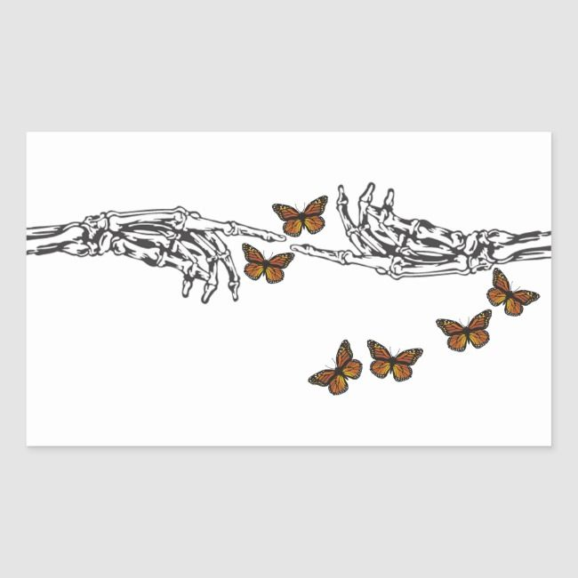 Butterflies and Skeletons Rectangular Sticker | Zazzle.com