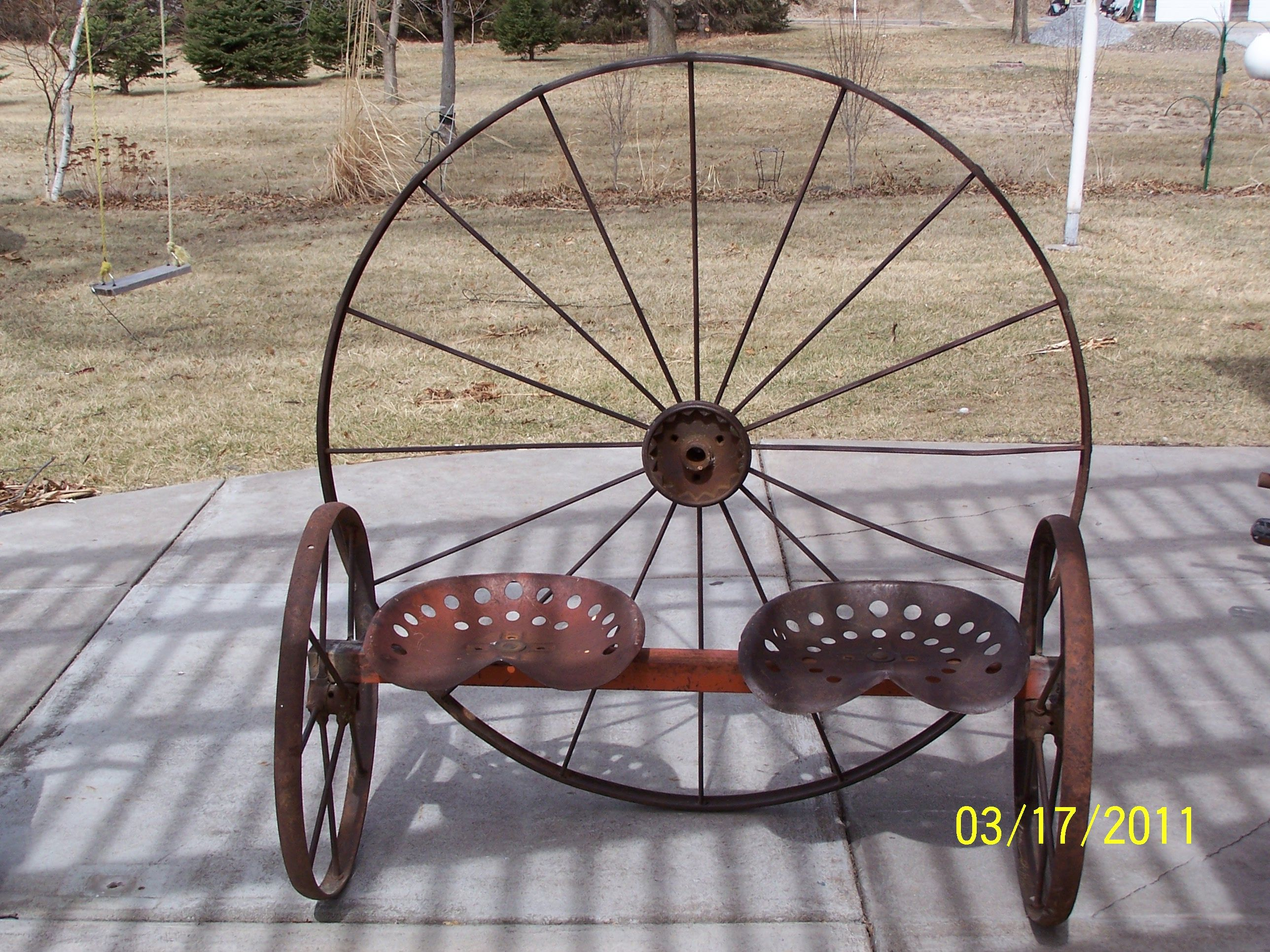 Antique Wagon Wheel Tractor Seat Garden Bench Metal Furniture Pinterest Gardens Heart