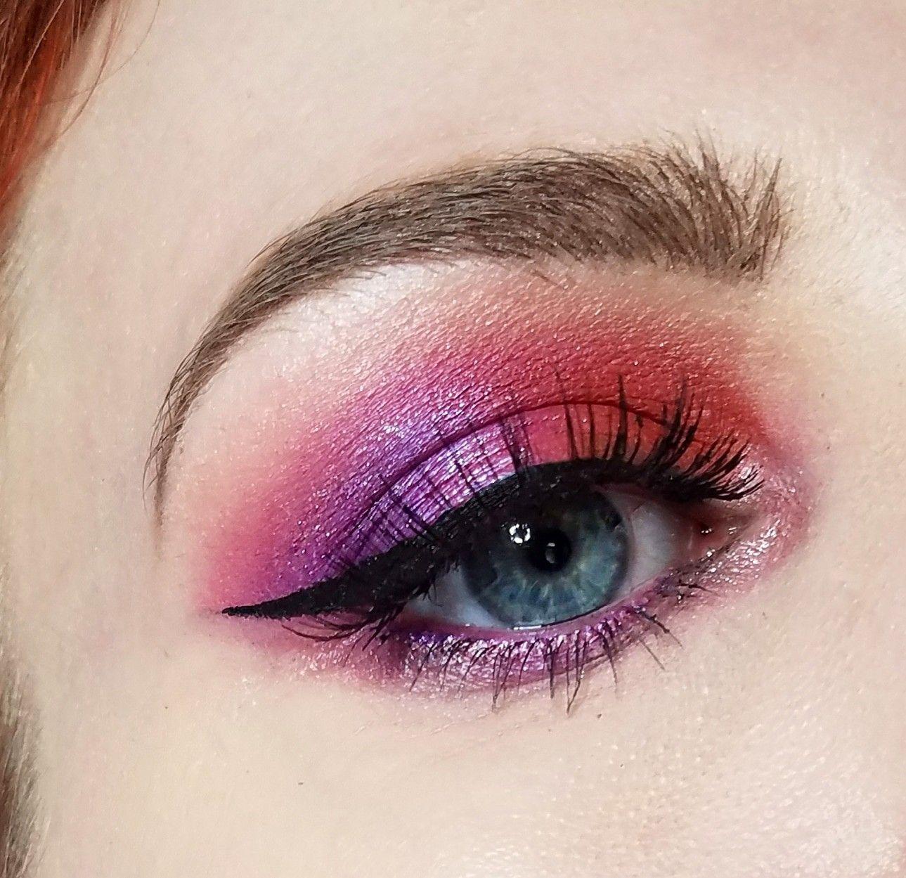 Purple Pink And Red Orange Eyeshadow Makeup Look For Blue Eyes