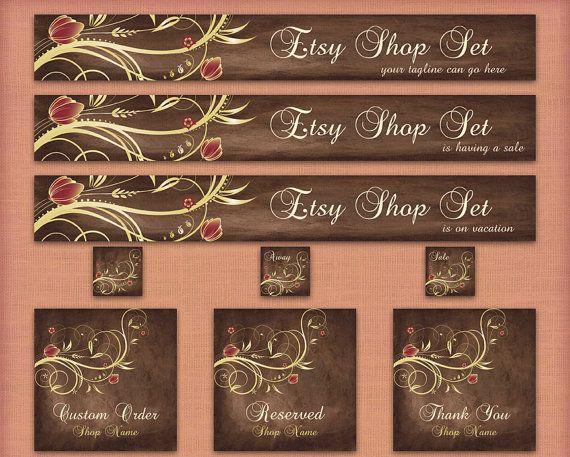 Etsy Banner Set - Premade Etsy Banner - Etsy Shop Banner - Etsy Banner, Avatar, and Graphics-Brown Floral  Set