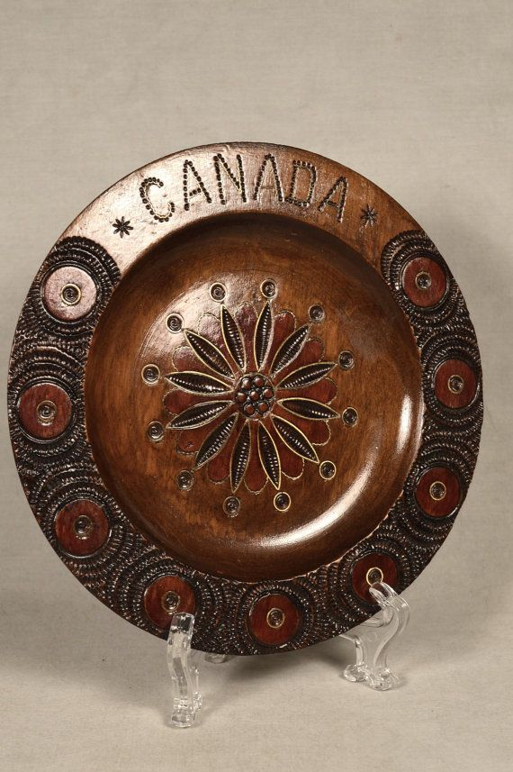 Vintage Wood Wooden Polish Style Souvenir Plate, Brass Inlay