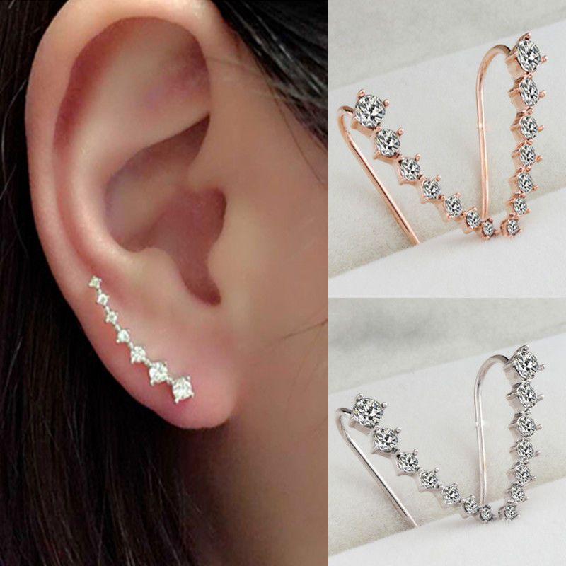 Women Fashion Rhinestone Gold Silver Crystal Earrings Ear Hook Stud ...