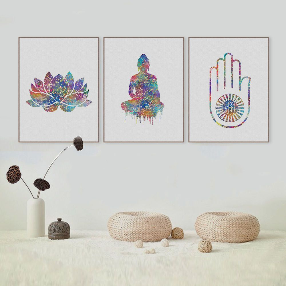 Lotus Flower Yoga Canvas Watercolor Print Relaxation Art Decor Wall Art Poster