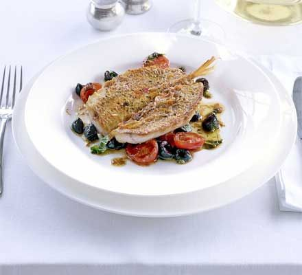 Red mullet with tomatoes olives anchovies bbc good food fish red mullet with tomatoes olives anchovies bbc good food forumfinder Image collections