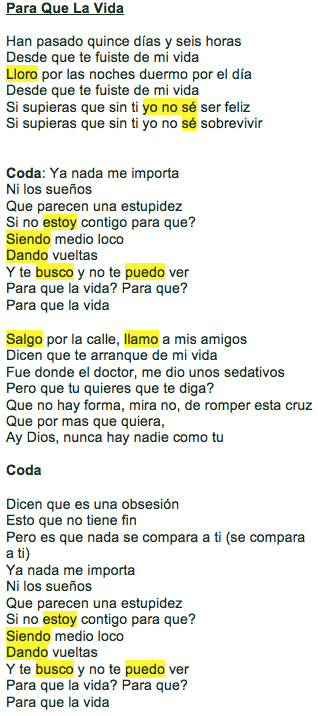Friday Canción Para Que La Vida By Enrique Iglesias Over The Andes Spanish Songs Songs Present Tense Verbs