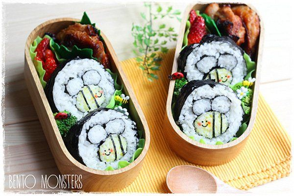 spring bumble bees bento box lunch for kids by bento. Black Bedroom Furniture Sets. Home Design Ideas
