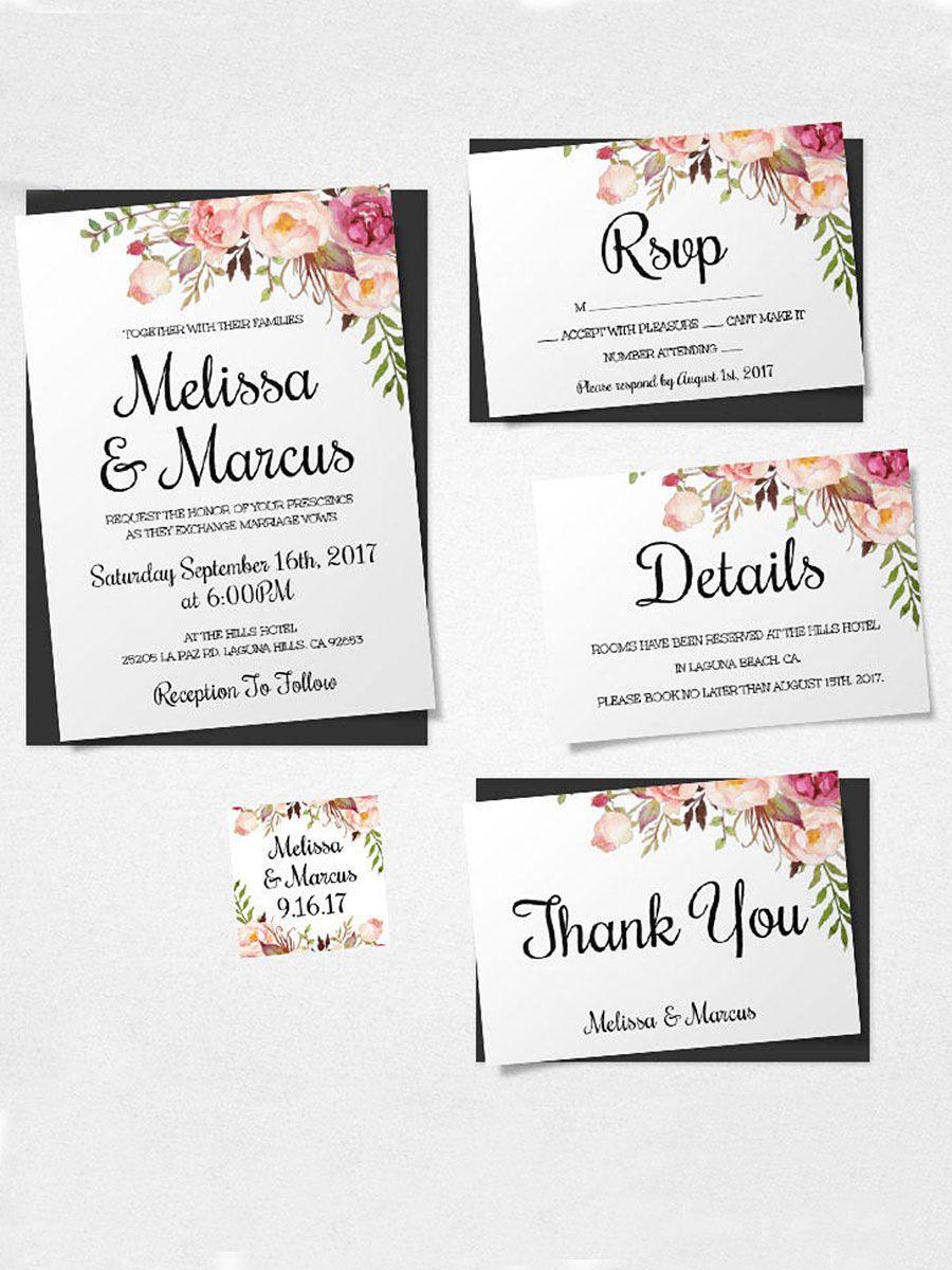 Boho Florals Printable Wedding Template: Blank Wedding Invitation Invitation At Websimilar.org