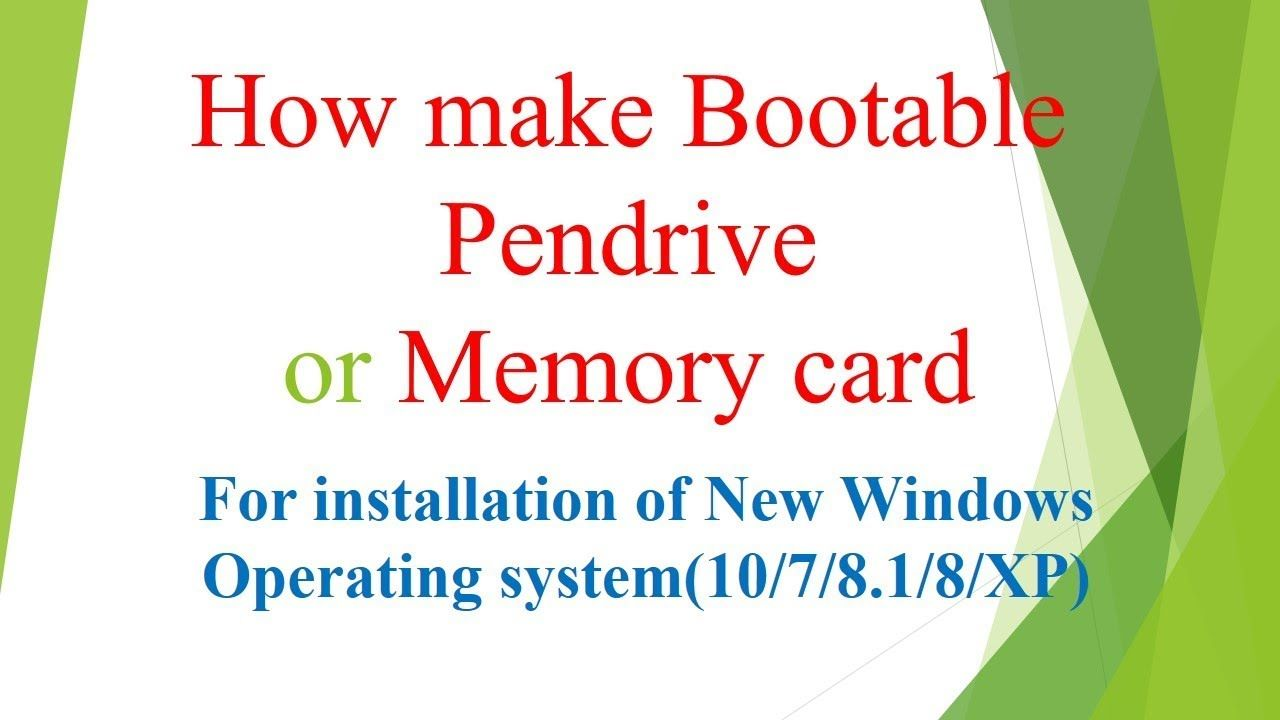 How make bootable pendrive i memory card with images